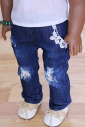 Lace Distressed Jeans- $19