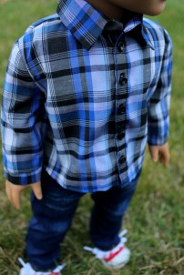 Blue and Black Button-down- $20